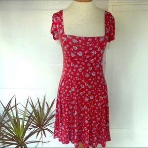 Kimchi Blue Red Floral Boho Dress